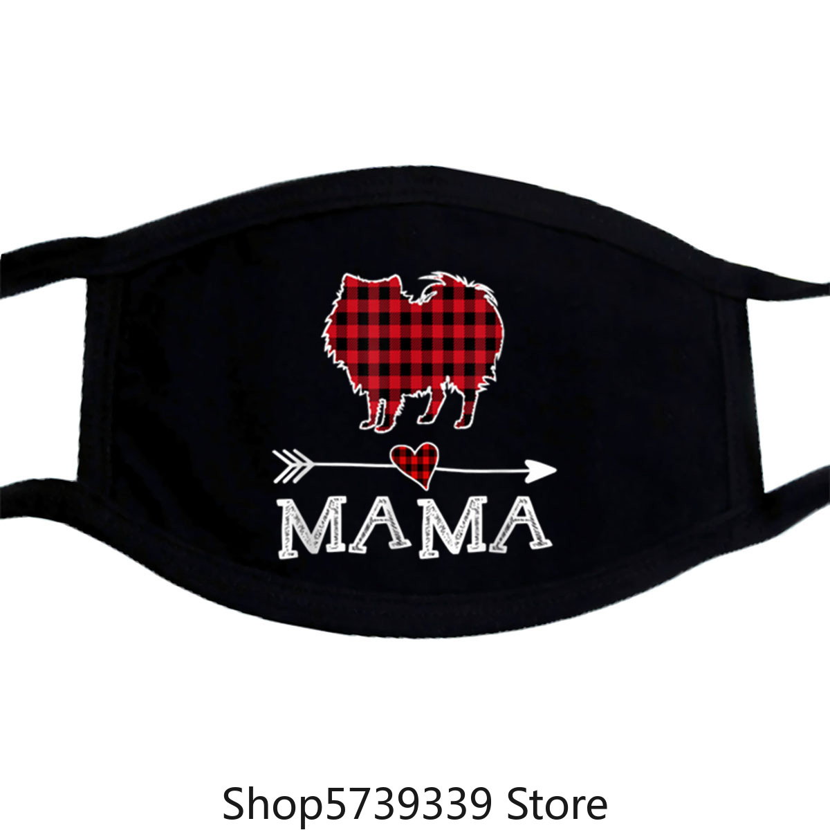 Original Womens Red Plaid Mama Pomeranian Dog Mom Buffalo Pajama Mask