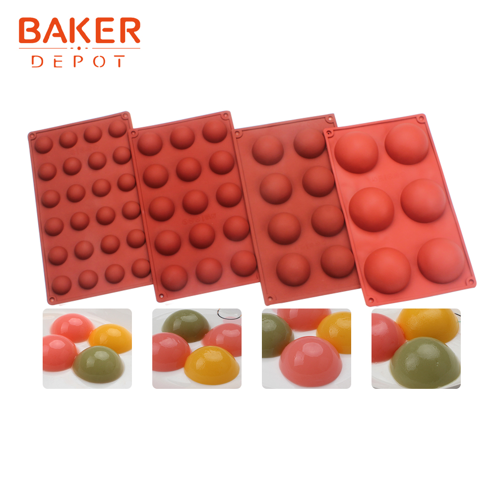 <font><b>BAKER</b></font> <font><b>DEPOT</b></font> dome chocolate molds silicone mold for cake pastry baking 4pc round cake decoration DIY candy biscuit bread jelly image