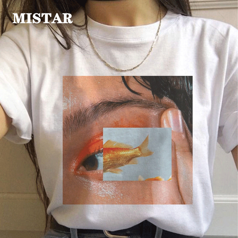 New Korean Style Picture T Shirt Women Kawaii Funny Printing Series Short-sleeved White T Shirt Oversize Women Clothes Tops Tee