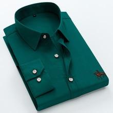 Büyük boy 6XL % 100% pamuklu uzun kollu işlemeli erkek gömlek rahat ince erkek elbise gömlek 5XL artı boyutu yüksek kaliteli ucuz