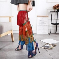 Sexy Rainbow Fringed Boots Women Over the Knee Open Toe Buckles Side Ladies Back zipper Gladiator Mixed Color High Heel Boots