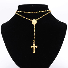 Granny Chic 4/6/8mm Mens Womens Chain Gold Stainless Steel Bead Rosary Jesus Christ Cross Pendant Long Necklace