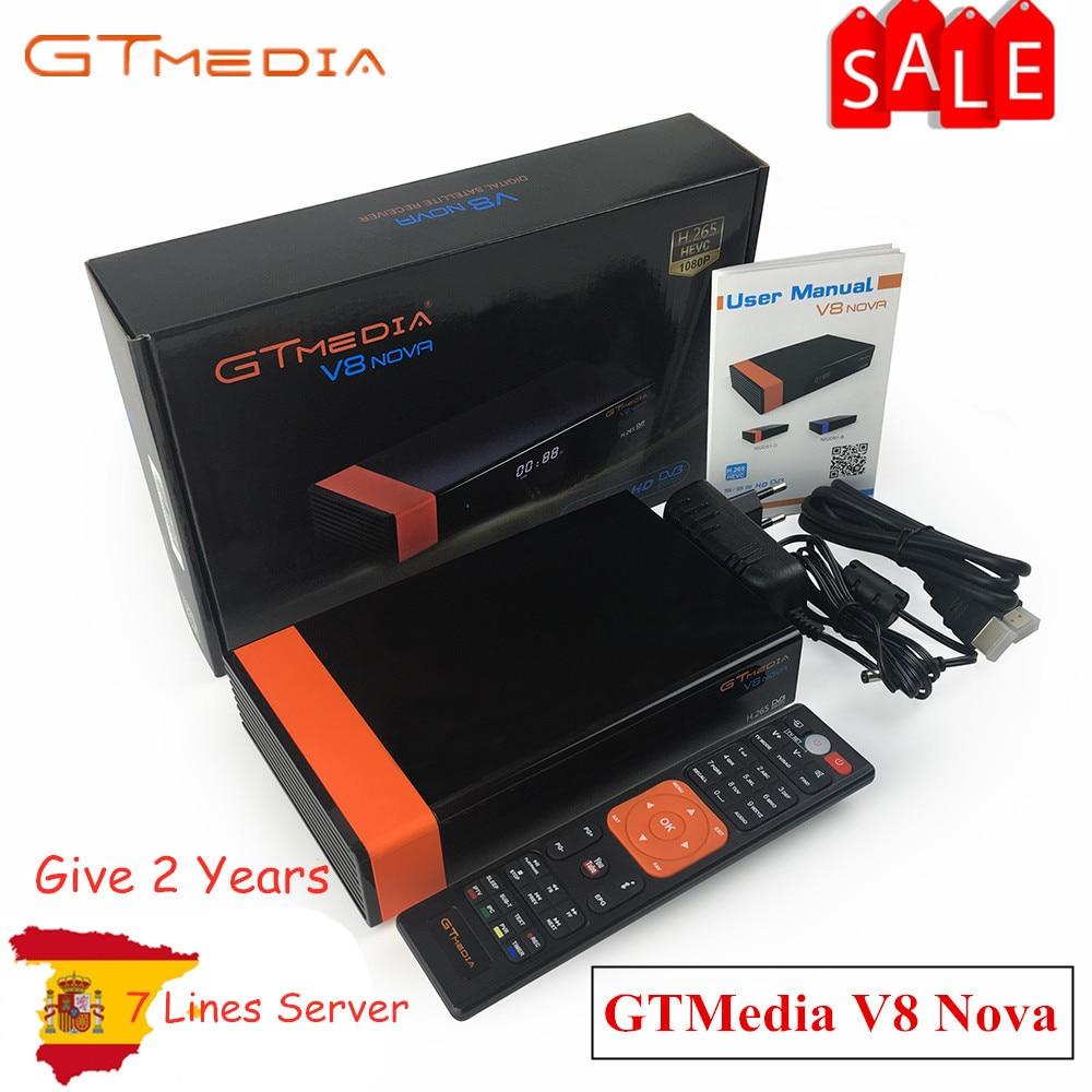 Gtmedia V8 NOVA de Freesat V8 Super Receptor de TV Apoio Receptor WI-FI embutido H.265 DVB-S2 Caixa cccam cline Espanha tv decodificador
