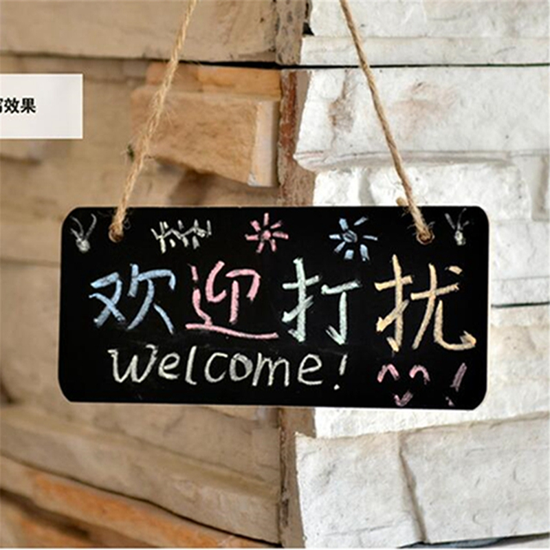 1 Pair Of Creative Message Board Door Panel Chalk Board Wedding Party Home Daily Wooden Hanging Slate