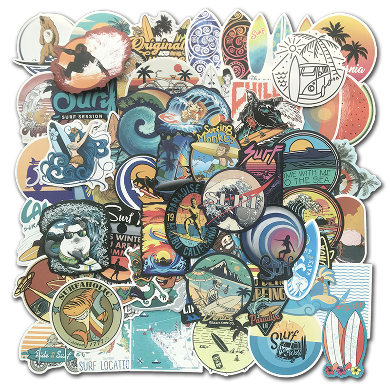 105 PCS Summer Surfing Stickers Beach Travel Graffiti Surf Sticker DIY For Surfboard Laptop Luggage Bicycle Tablet Water Bottle