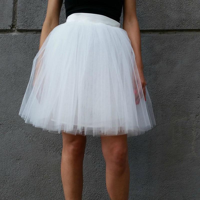 4 Layers Midi Tutu Skirt Pleated Zipper High Waist Tulle Skirt  Womens Lolita Petticoat Jupe Saia Faldas White Party Skirts
