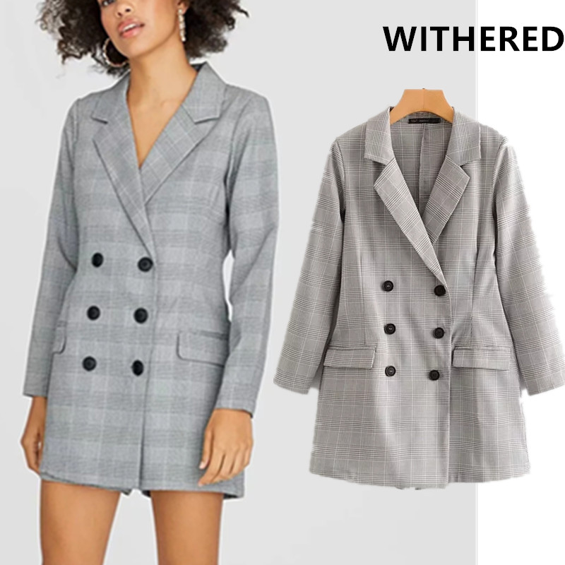 Withered England Style Office Lady Double Breasted Notched Loose Vintage Houndstooth Party Playsuits Women Plus Size