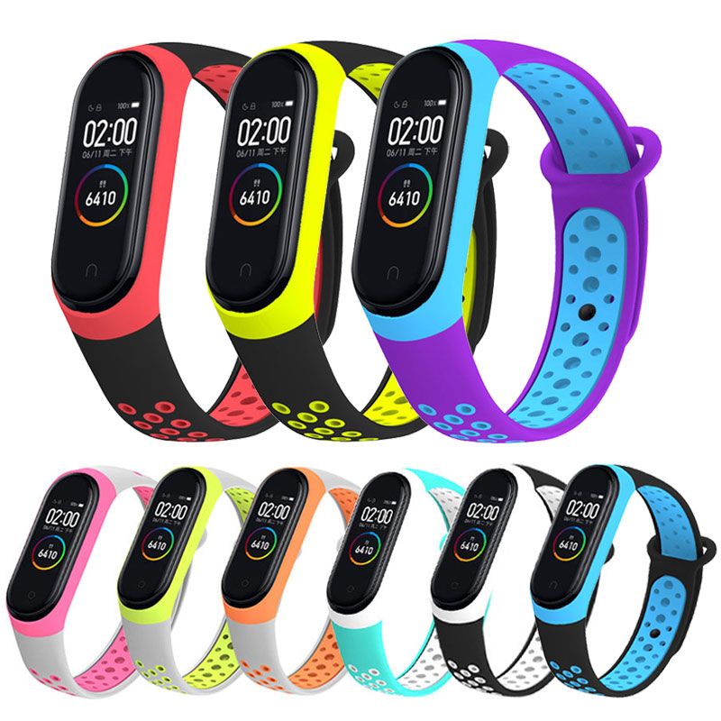 Soft <font><b>Silicone</b></font> <font><b>Strap</b></font> For Xiaomi <font><b>Mi</b></font> <font><b>Band</b></font> <font><b>3</b></font> <font><b>4</b></font> Double Color Replacement <font><b>Wristband</b></font> Case For Xiomi MiBand <font><b>3</b></font> <font><b>4</b></font> Smart <font><b>Bracelet</b></font> Belt image
