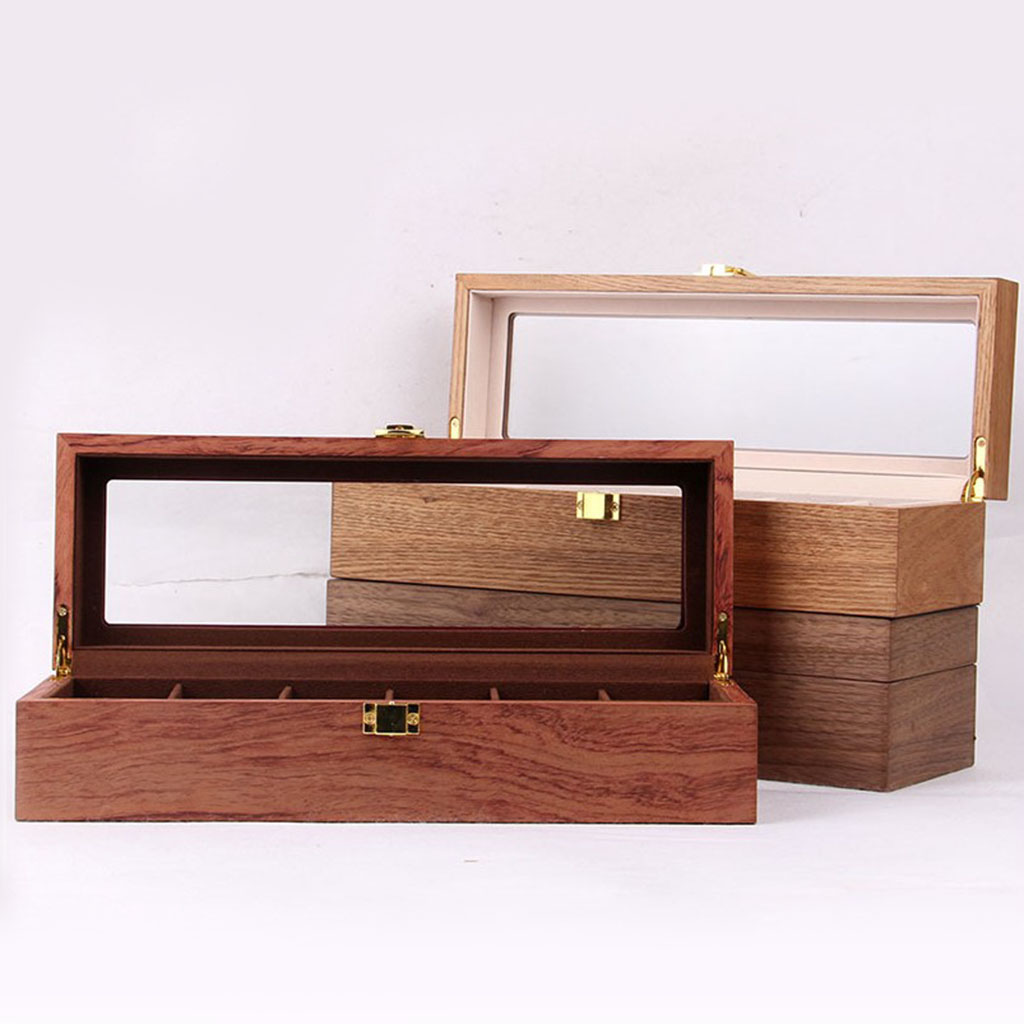 Wooden Watch Box Case Organizer Display for Men Women, 6 Slots Wood Box with Clear Glass Top, Vintage Style