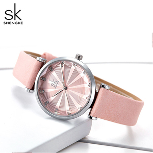 Image 3 - Shengke relojes de lujo para Mujer, Reloj femenino de cuero, a la moda, con diamantes Bayan Kol Saati, 2020