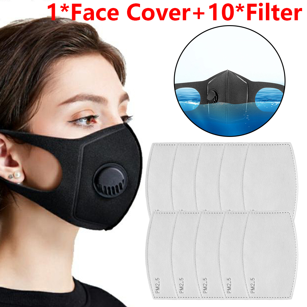 Masks Protection Cover Washable Anti-Fog Haze Face Mouth Cover Protetion Filter Respirator-Breathable Anti-Dust Anti-saliva