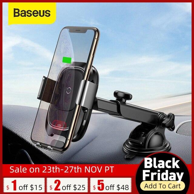 Baseus 10w qi carregador de carro sem fio para o iphone x xs 8 samsung s10 s9 indução infravermelha rápido carregamento sem fio do telefone carro carregador