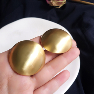 3CM New Fashion Gold Color Matte Metal Button Stud Earrings Minimalist Round Coin Earrings For Women Party Weddings Jewelry(China)