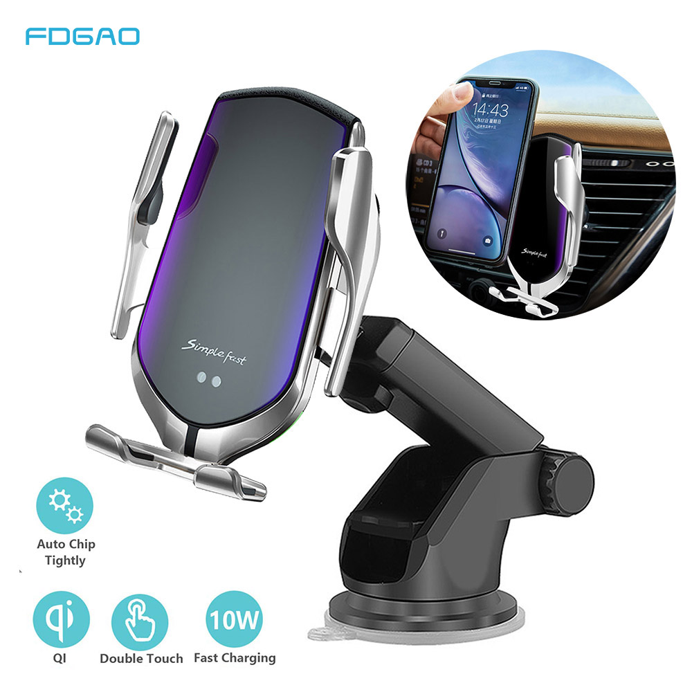 Automatic Clamping 10W Qi Car Wireless Charger For iPhone 11 Pro X Xs MAX Infrared Induction Fast Charger Stand Car Phone Holder on