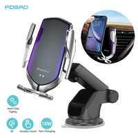 Serrage automatique 10W Qi voiture chargeur sans fil pour iPhone 11 Pro X Xs MAX Induction infrarouge chargeur rapide support voiture support pour téléphone