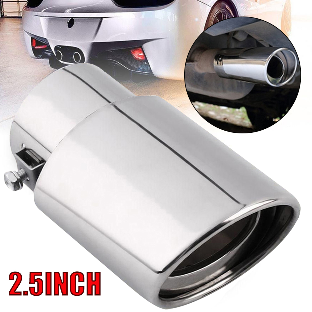 Car Round Stainless Steel Chrome Exhaust Tail Muffler Tip Pipe Car Accessories