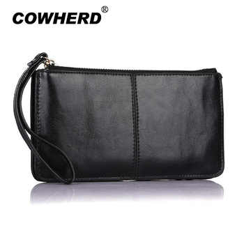 Candy Colors Bag Wristlet Oil Wax Genuine Leather Evening Day Clutch Wallet Brands Ladies Wristlet Female Purse Party bag gifts