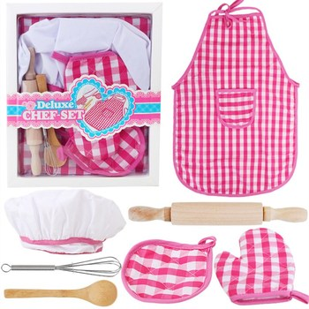 Children's Play House Kitchen Toy Girl Cooking Kitchenware Set Baking Tool Cake Apron Chef Hat Glove Simulation Housework Toy children s family kitchen toy boys and girls cooking simulation family toy baby kitchenware set