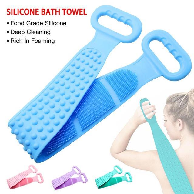 Silicone Back Scrub Deep Cleaning Bath Shower Silicone Body Brush Bath Belt Exfoliating Back Brush Belt for Body Skin Care Clean 1