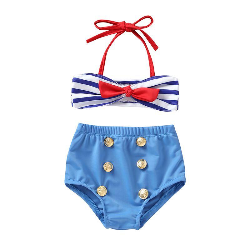 Two-Piece Baby's Swimwear Girls Bow Striped Sling Swimsuit Split Beach Seaside Summer New