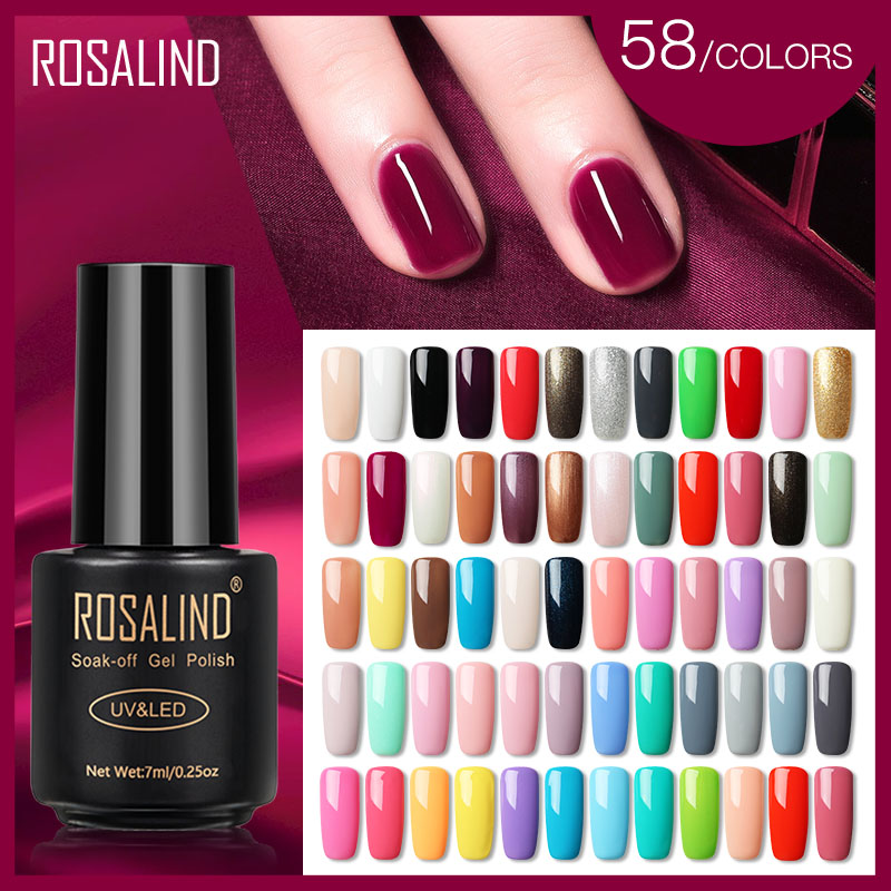 ROSALIND Nail Gel Polish 7ml Hybrid Varnish For Nail Art Semi Permanent UV Gel Nail Polish Set For Manicure Base Top Coat Gellak