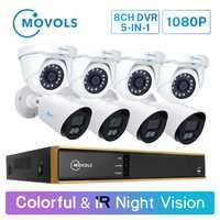 Movols 2MP Bunte & IR Nachtsicht CCTV Kit Outdoor Indoor Wasserdicht Video Überwachung System 8CH DVR Sicherheit Kamera System