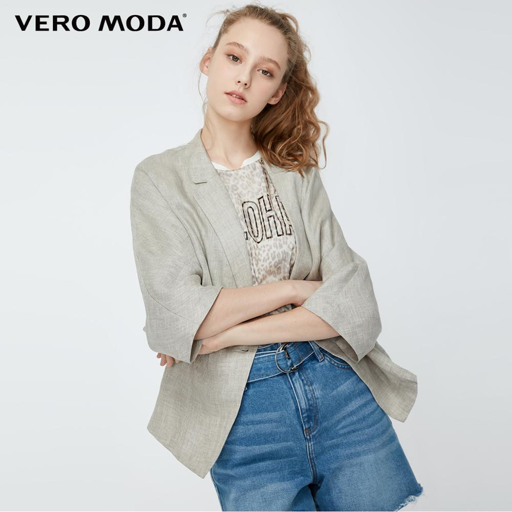 Vero Moda Women's 100% Linen 3/4 Sleeves Lapel Sleeves One-button Blazer | 319208514