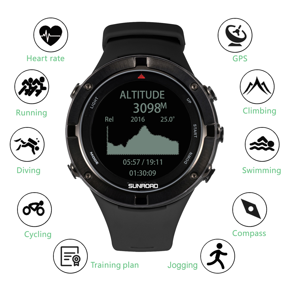 Outdoor Watch with GPS Heart Rate Triathlon Sports Watch Altimeter Barometer Watch smart watch blood pressure heart rate monitor image
