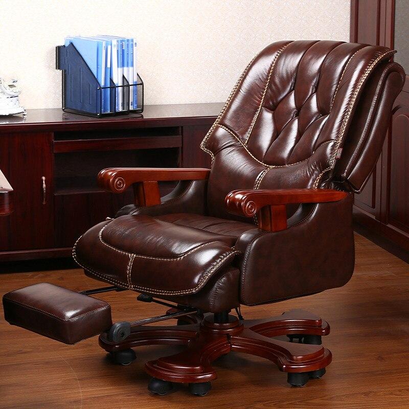 Light Extravagant Office Chair Genuine Leather Cadeira Office Furniture Minimalist Modern Boss Sedia Ufficio Sedie