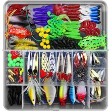 THEKUAI Fishing Lures Set Kits 141 pcs a lot Hooks VIB Soft Minnow Pilers Lure bait Tackle Spoon with Box