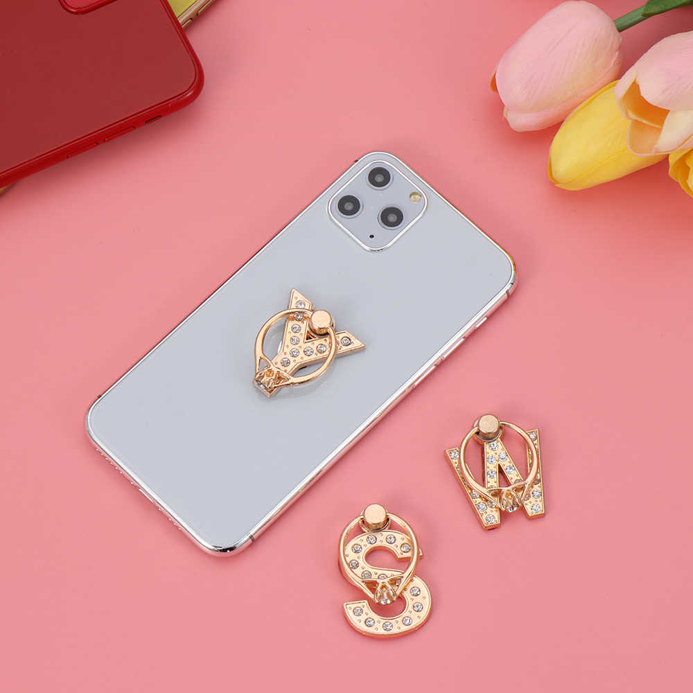 Soporte Universal para teléfono inteligente A-Z, rotación 360, multifunción, alfabeto, anillo de diamante de lujo