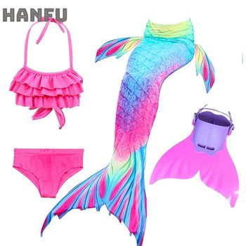 Swimming Mermaid Children Tails With Monofin Fin Cosplay Costume Girls Kids Swimsuit Ariel Swimmable Mermaid Tail for Swimming