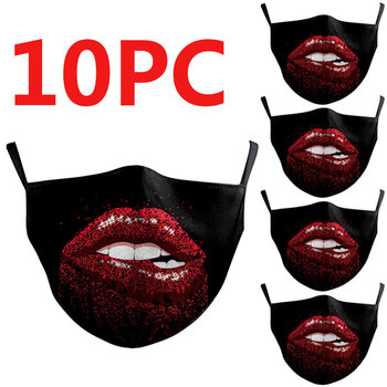 10 Pcs Funny Kpop Cotton Mask Mouth Face Mask Anti PM2.5 Dust Mask Activated Filter Korean Style Mask Fabric Face Mask
