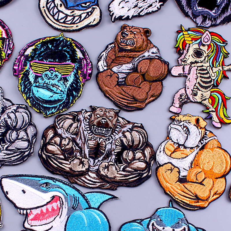 Bear/Shark Patch Skull Punk Embroidery Patch Embroidered/Clothing Patches Iron On Patches On Clothes Stripes Sew Applique Badge