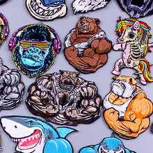 Embroidery-Patch Patches Badge Skull Applique Punk Stripes Iron-On Sew