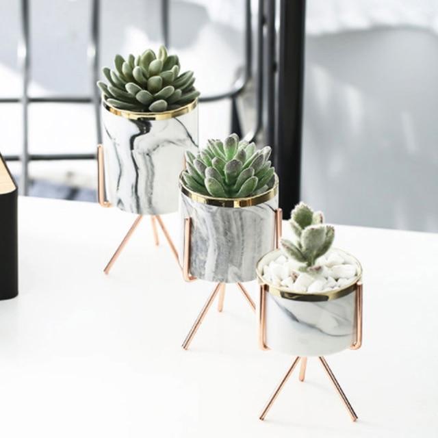 Nordic Ins Minimalist Vase Fleshy Flowerpot Marble Pattern Ceramic Wrought Iron Vase Flower Pot Home Mariage Living Room Decor 4