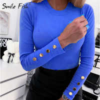 2020 Spring Women T-shirts Buttons Long Sleeve Tops O-Neck Slim Basic Shirts Solid 2XL Plus Size Tees Office Lady Tshirts G1184