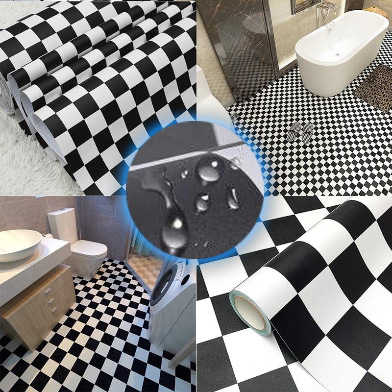 Width 60cm Vinyl Floor Stickers Black And White Bathroom Waterproof And Wear-Resistant Self-Adhesive Wallpaper Contact Paper DIY