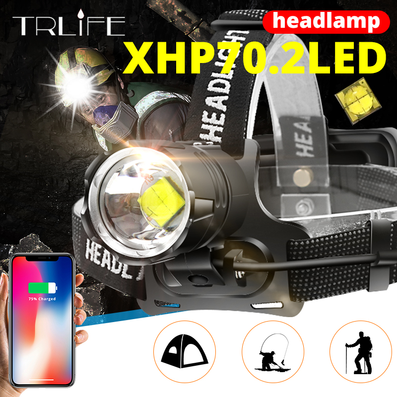 7000 Lumens XHP-70.2 Led Headlamp Fishing Camping Headlight High Power Lantern Head Lamp Zoomable USB Torches Flashlight 18650