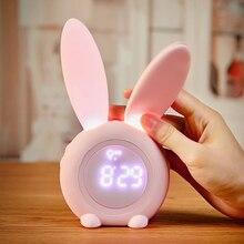 Alarm Clock Rabbit Alarm Clock Creative Led Digital Snooze Cartoon USB Electronic Clock Timed LED Night Light Alarm Clock