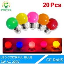 20 개/몫 Led 전구 E27 램프 3W 다채로운 Lampada Ampoule SMD 2835 손전등 RGB Led 빛 홈 장식 빛 AC 220V 글로브 전구