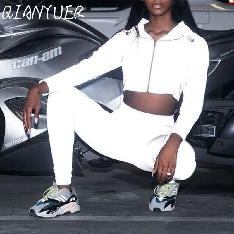 Hip-hop Street Clothing 2 Women's Fashion Reflective Clothing Cropped Top Pants Suit Clothing Game Clothing Styles Club Clothing