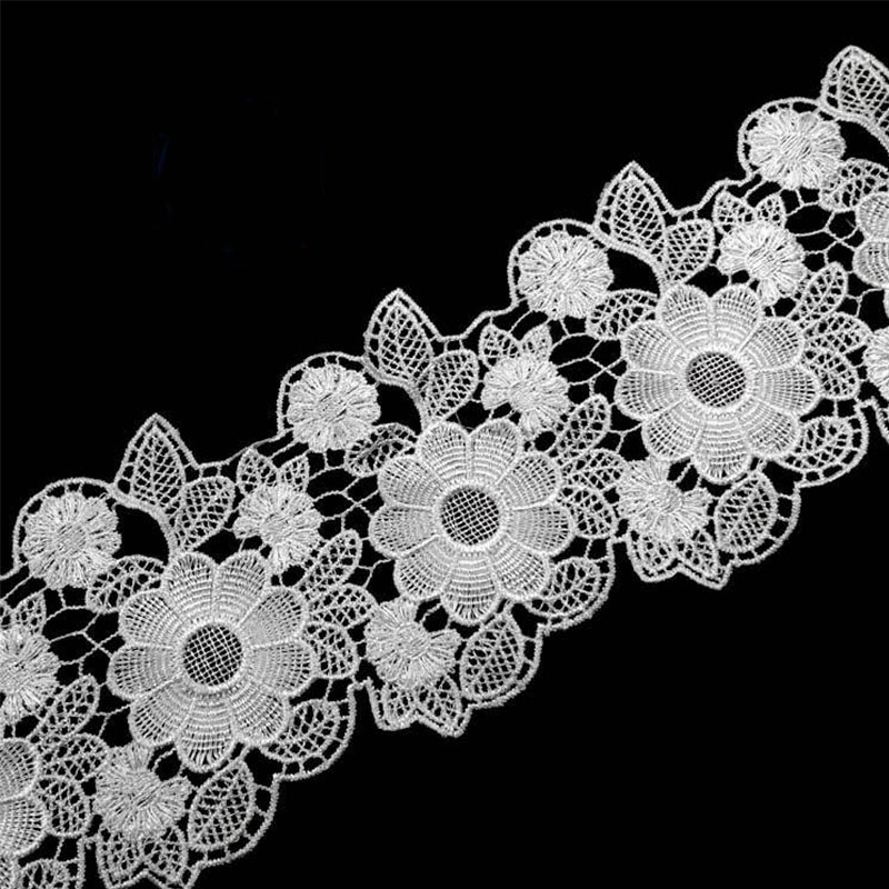 11.5cm Wide HOT White Black Embroidery Lace Ribbon Fabric Trim Collar Sewing DIY Guipure Dress Applique Decor Crafts 100yards