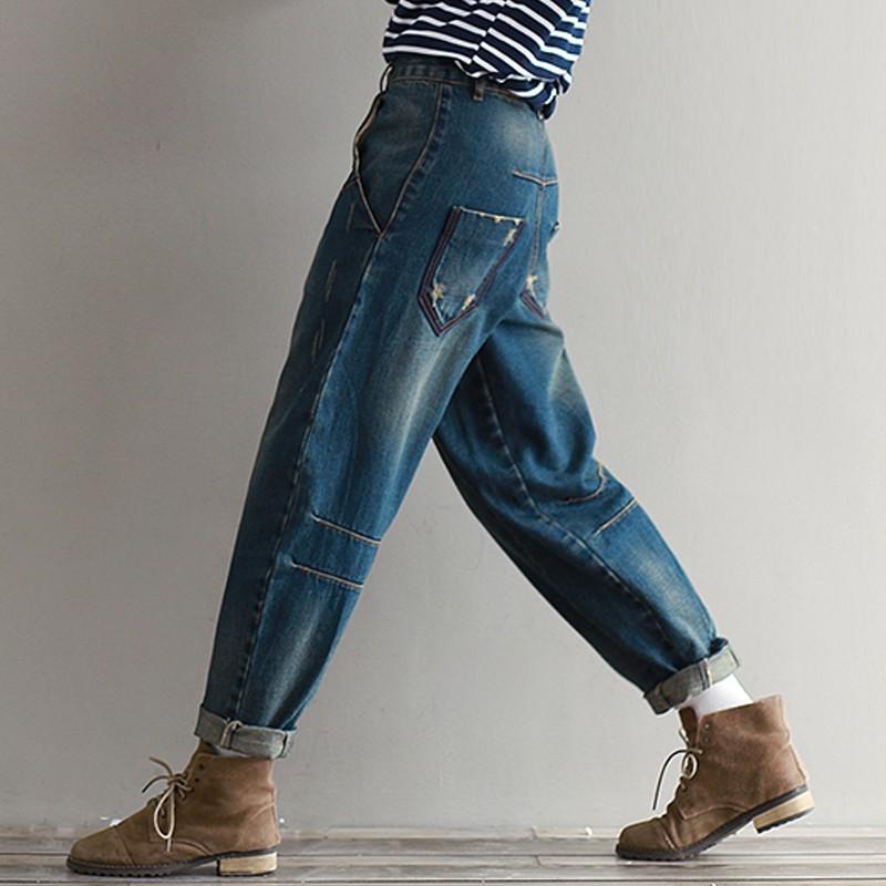 Spring Summer New Style Women Casual Loose Harem Pants Classic Denim Cross Pants Full Length Jeans Women Trousers For Girls