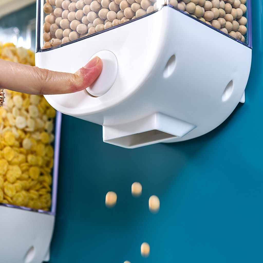 Кухня для хранения сухих продуктов коробка настенный легкий пресс зерновые канистры контейнер для кухни прозрачный зерновой хранения герметичная банка
