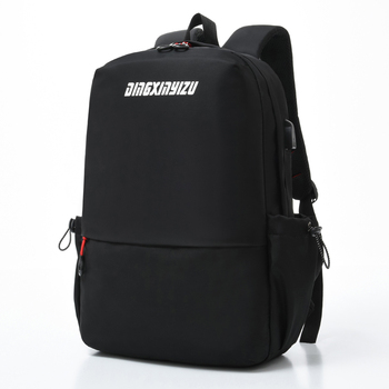 Mens Backpack Nylon Waterproof Solid Color Travel Letters Black For Teenager School Women Zipper