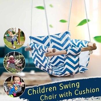 Columpio de seguridad para bebé, hamaca, juego de asiento de lona, silla colgante con cojín para exterior, jardín de interior, balancín de madera