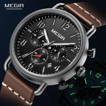 MEGIR Luxury Watches Men Fashion Leather Strap Chronograph Quartz Watch for Man Casual Sports Luminous Wristwatch Relogio Clock