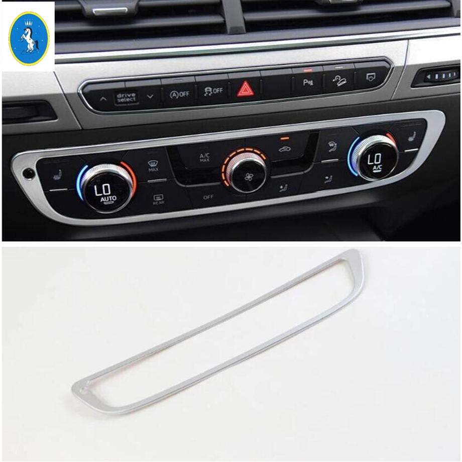 Yimaautotrims Auto Accessory Middle Air Conditioner AC Control CD Panel Switch Decoration Cover Trim For Audi Q7 2016 - 2019 ABS