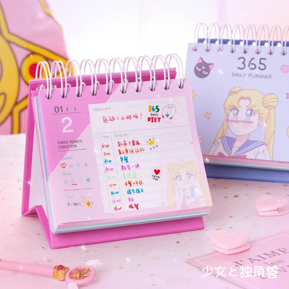 2020 Cute Cartoon Anime Sailor Moon Desk Calendar Diy Table Calendars Action Figure Printed Paper Daily Schedule Planner Agenda
